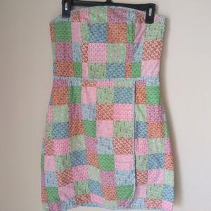 Vineyard Vines Patchwork Strapless Dress Size 8